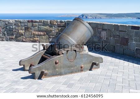 Large mortar on Signal Hill National Historic site protecting the entrance of St. John's harbor, Newfoundland and Labrador, Canada