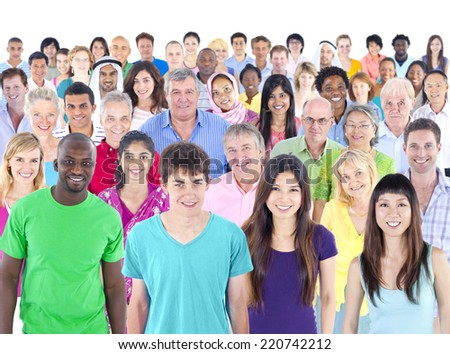 Large multi-ethnic group of people - stock photo
