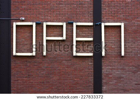 large neon open sign  - stock photo