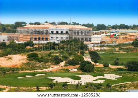 Large new golf complex under construction, Algarve, Portugal - stock photo