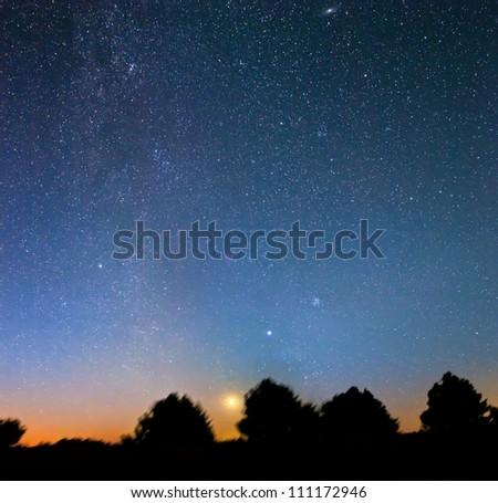 large night scene panorama - stock photo