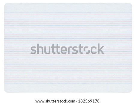 Large notebook paper with colorful lines isolated on pure white background