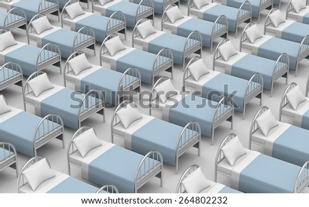Large number of beds - stock photo
