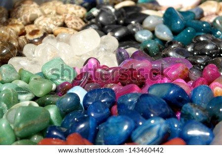 Large number of colorful stones - stock photo