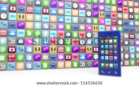 Large number of smartphone icons with a modern blue smartphone at the side. Selective focus on the phone.  Note to reviewer: Smartphone and icon graphics are designed by the contributor. - stock photo