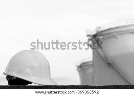Large oil tank black and white . - stock photo