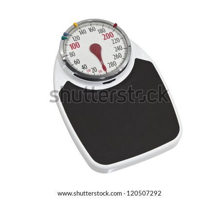 Large old bathroom scale isolated with clipping path. - stock photo