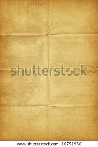 Large old paper, map background - stock photo