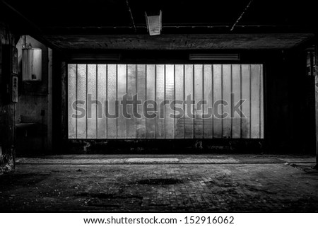Large old window of a factory building - stock photo