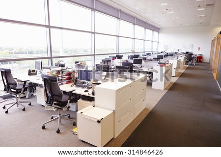 Large open plan office interior without people - stock photo