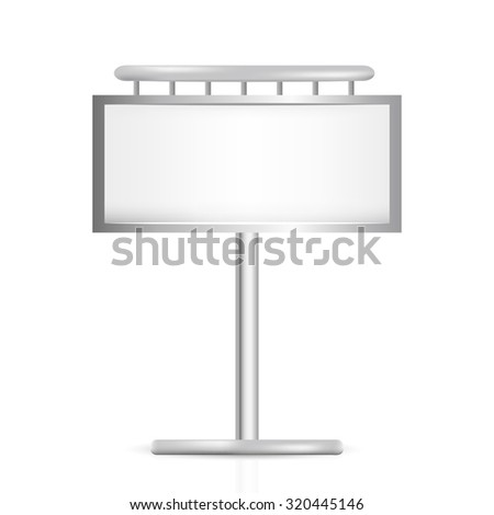 large outdoor blank billboard isolated on white background - stock photo
