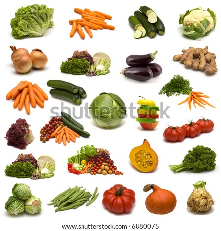 large page of vegetables on white background