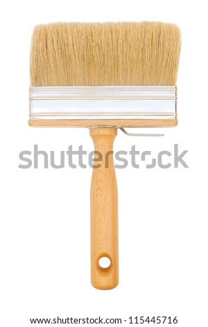 Large paint brush isolated on white - stock photo