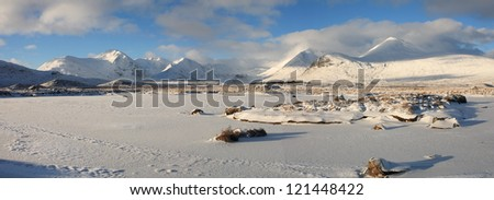 Large panorama of a frozen Loch Buidhe and a snow covered  Black Mount on Rannoch Moor. - stock photo