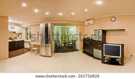 Large panorama room, studio apartment with balcony - stock photo