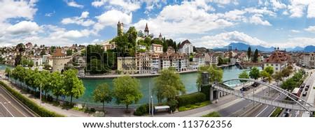 Large panoramic cityscape of the skyline of Lucerne, Switzerland - stock photo