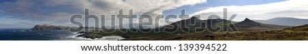 Large panoramic image of the Irish atlantic coast near Dingle - stock photo