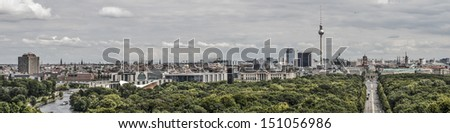 Large panoramic view of Berlin, Germany - stock photo