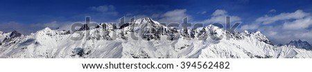 Large panoramic view on snowy mountains in sunny day. Caucasus Mountains. Svaneti region of Georgia. - stock photo