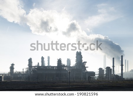 large petrochemical plant in the Rotterdam harbor area - stock photo