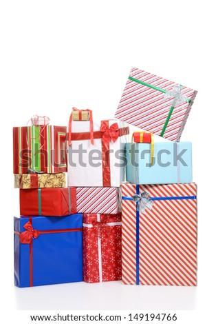 large pile of christmas presents - stock photo