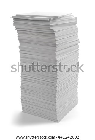 Large Pile of Copy Paper Isolated on White Background.