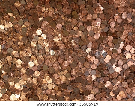 Large pile of shinny American Lincoln pennies. - stock photo