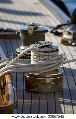 Large plan of a part of an old sailboat - stock photo