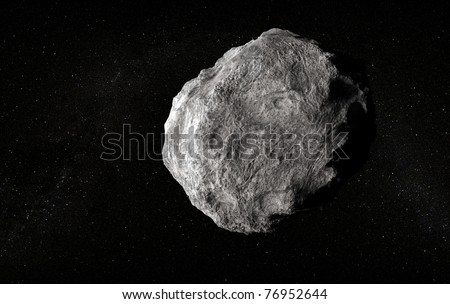 Large planetoid in empty space - stock photo