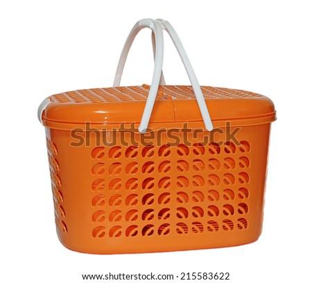 Large plastic picnic basket isolated on white background - stock photo