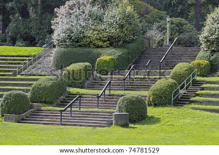 Large Portland, Oregon Rose Garden park stairs in amphitheater on a spring day. - stock photo