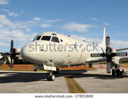 Large propeller airplane used by the Navy for maritime patrols