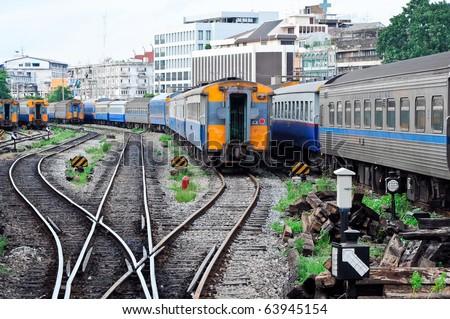 Large railway yard - stock photo