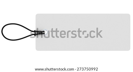 Large Rectangular Blank White Price Tag Isolated on White