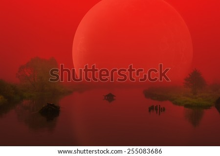 Large Red Alien Planet over Foggy River  - stock photo