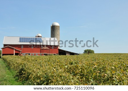 Large red barn, part of an Amish Farm in Lancaster County, PA