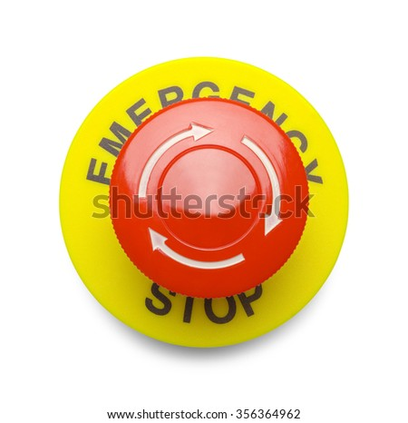 Large Red Emergency Stop Button Isolated on a White Background. - stock photo