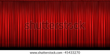 Large red stage curtain with light and shadow - Image stitched from several photographs - stock photo