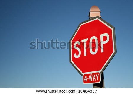 Large Red Stop Sign - stock photo