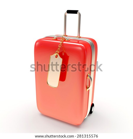 Large red suitcase and blank label isolated on white background    - stock photo