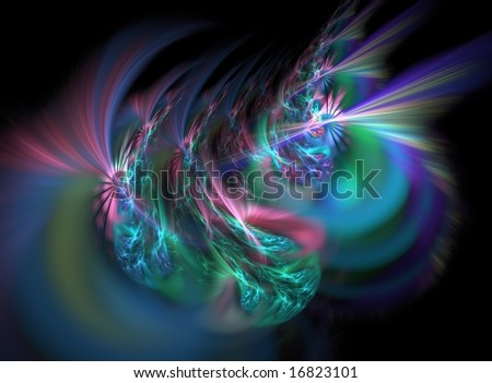 Large rendering in bold colors called 'Fiesta del Brain' - stock photo