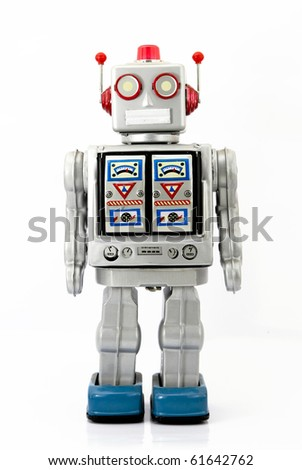 large retro robot toy - stock photo