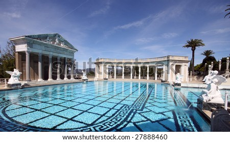 large roman outdoor swimming pool - stock photo