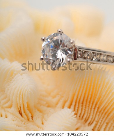 Large round diamond on an engagement ring - stock photo