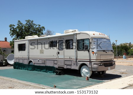 Large RV on a camping site - stock photo