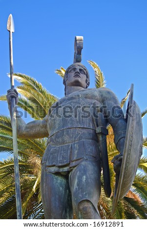 Large scale Achilles statue at Corfu, Greece. Achilleion palace. - stock photo