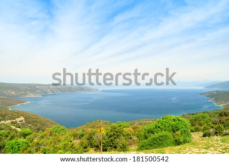 Large sea gulf formed by the island of Cres, Croatia
