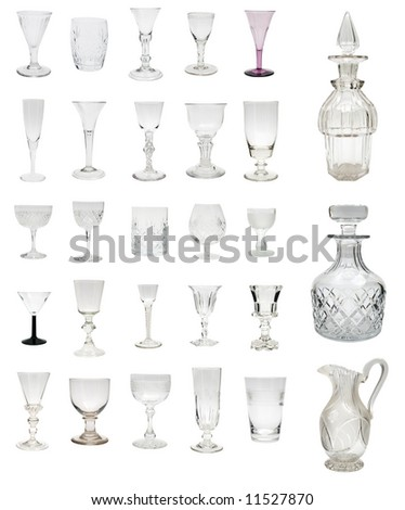 Large selection of antique glass drinkware dating from 1730 to 1930 including some rare and valuable George I period examples - stock photo