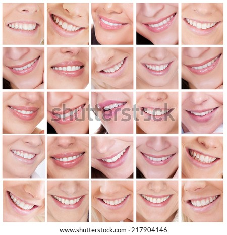 Large set of beautiful smiling woman. Isolated on white - stock photo