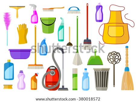 large set of cleaning supplies. flat illustration. tools of housecleaning. raster